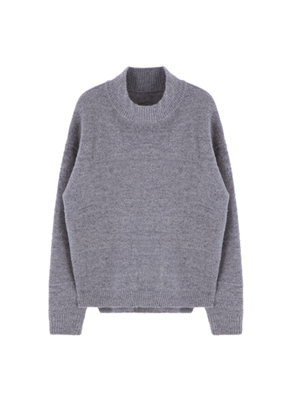 Ribbed Neck Knit Sweater