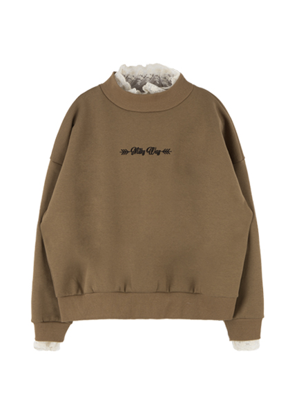 MILKY WAY Laced Neck And Cuffs Sweatshirt