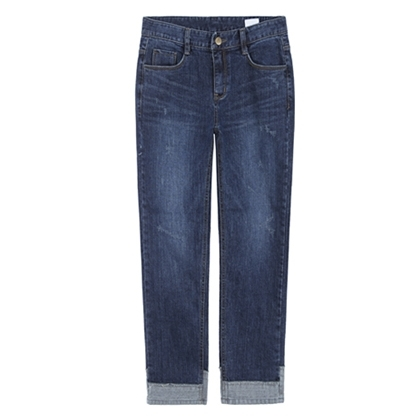 Damaged Cuffed Hem Jeans