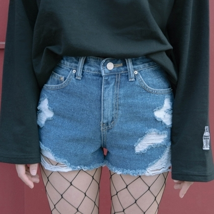 Ripped Denim Cut-Off Shorts