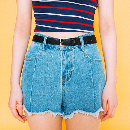 Denim High Waist Frayed Shorts