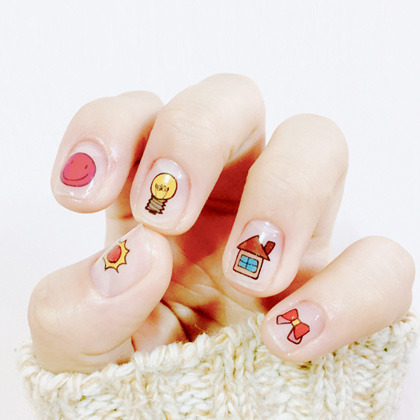 Assorted Doodle Themed Nail Art Water Decal