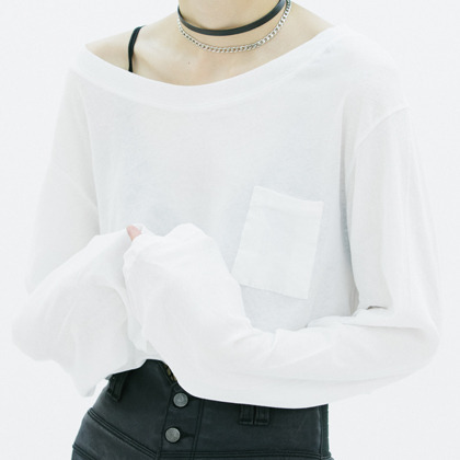 Boat Neck Cropped Long Sleeve Tee