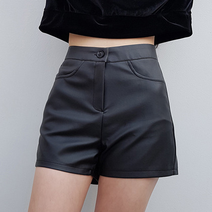 Faux Leather 4-Pocket Shorts