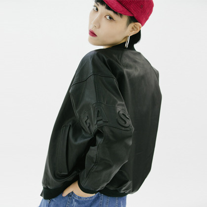 Faux Leather Embossed Patch Snap Front Jacket