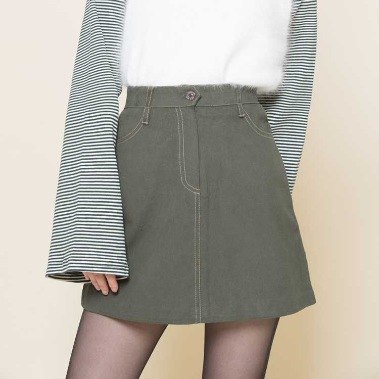 Contrast Stitch A-Line Mini Skirt
