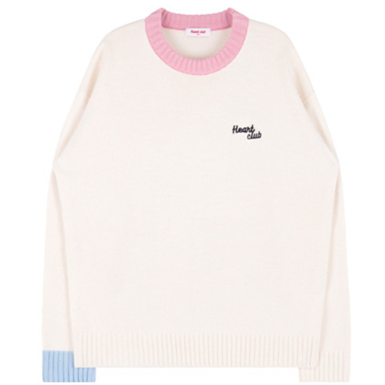 HEART CLUBEmbroidered Logo Detail Color Blocked Sweater