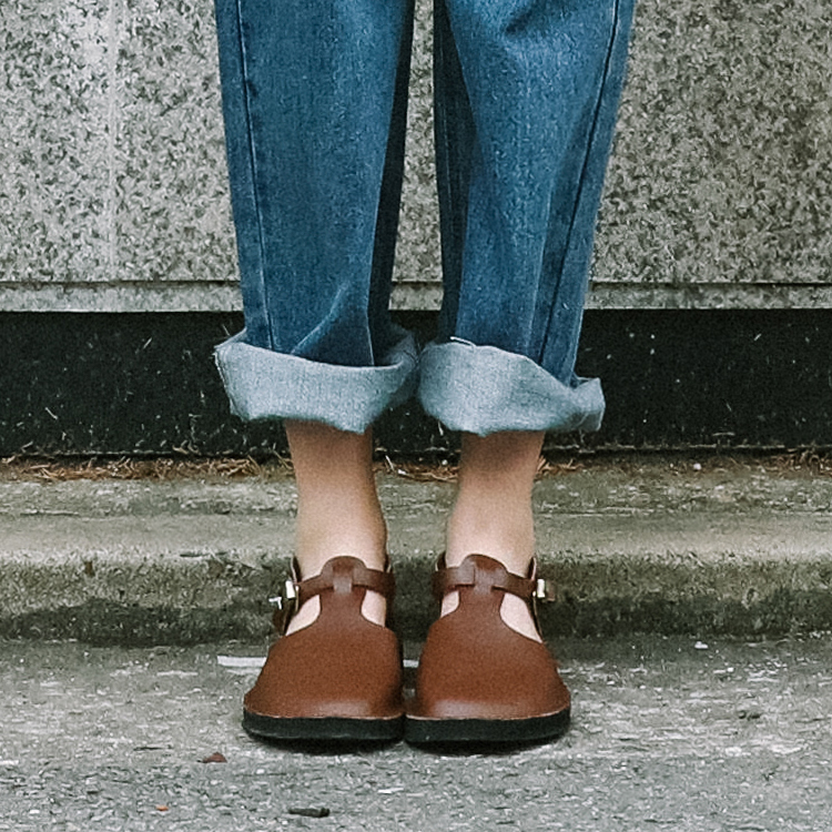 Round Toe T-Strap Flats