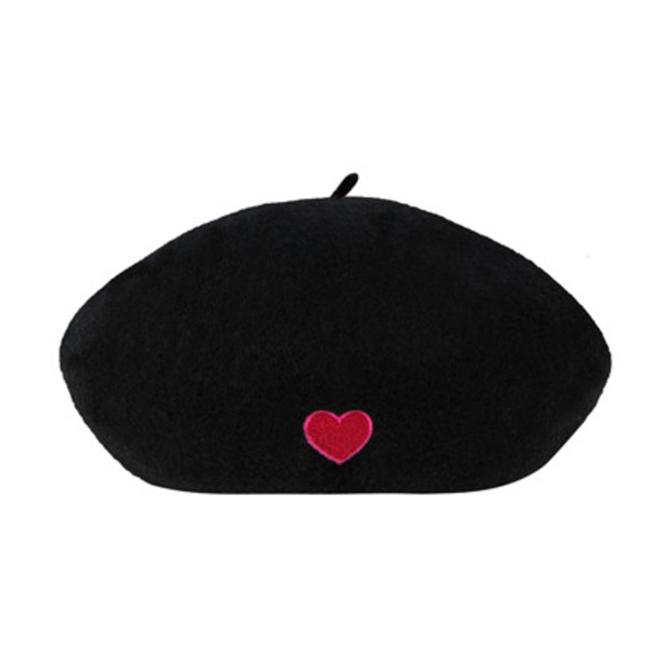 HEART CLUBHeart Embroidered Woolen Beret