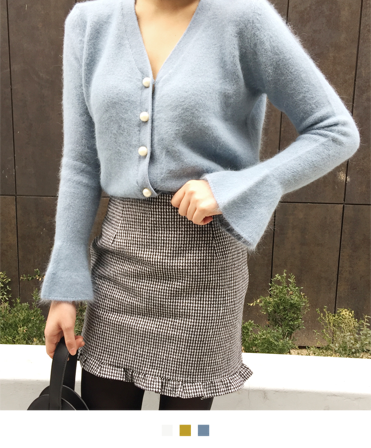 Faux Pearl Button Angora Cardigan