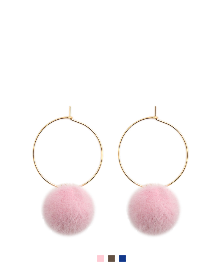 Pom-Pom Ball Hoop Earrings