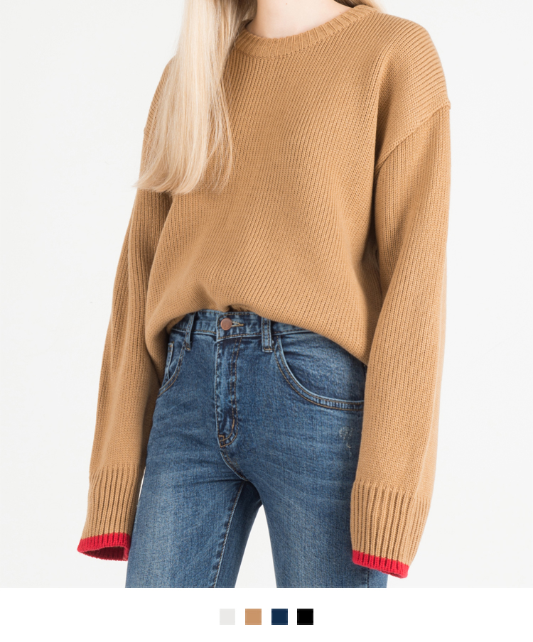 Contrast Color Cuff Knit Sweater