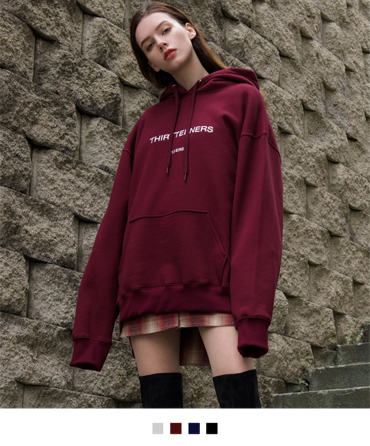 Embroidered Detail Oversized Drawstring Hoodie