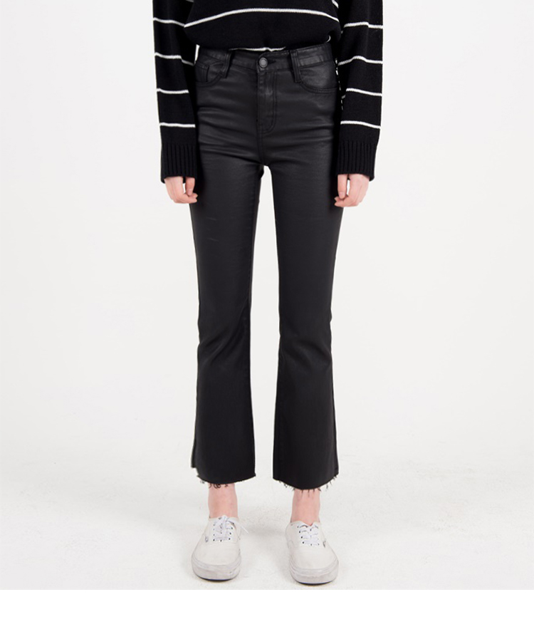 Black Coated Cropped Raw Hem Pants