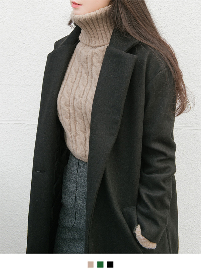 Notched Coat with Quilted Inner Lining