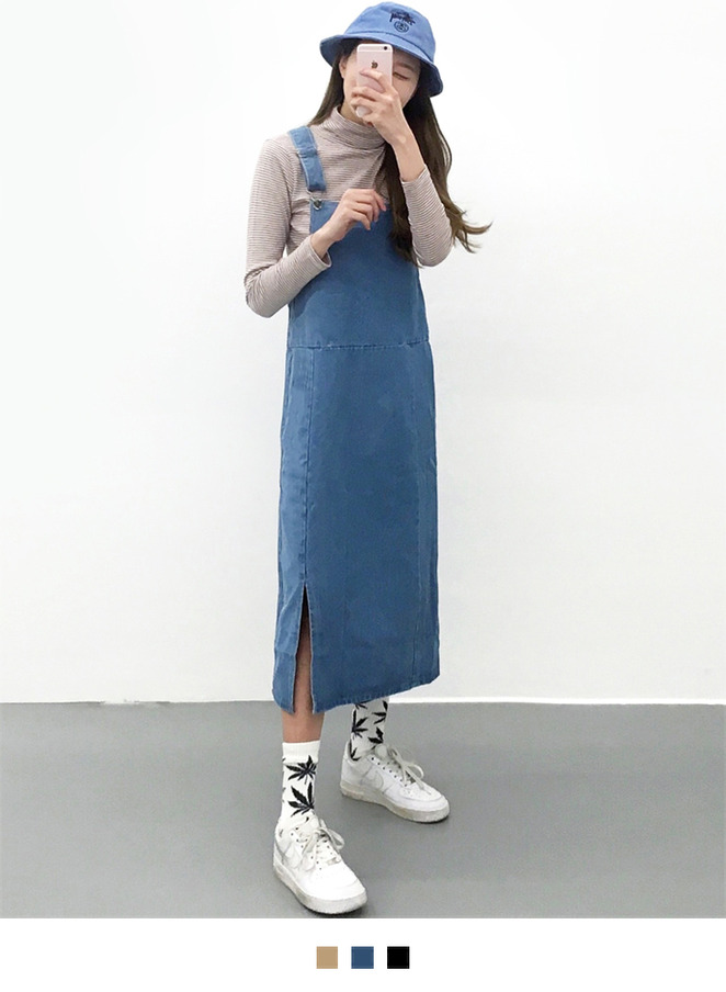 Slit Hem Overall Dress