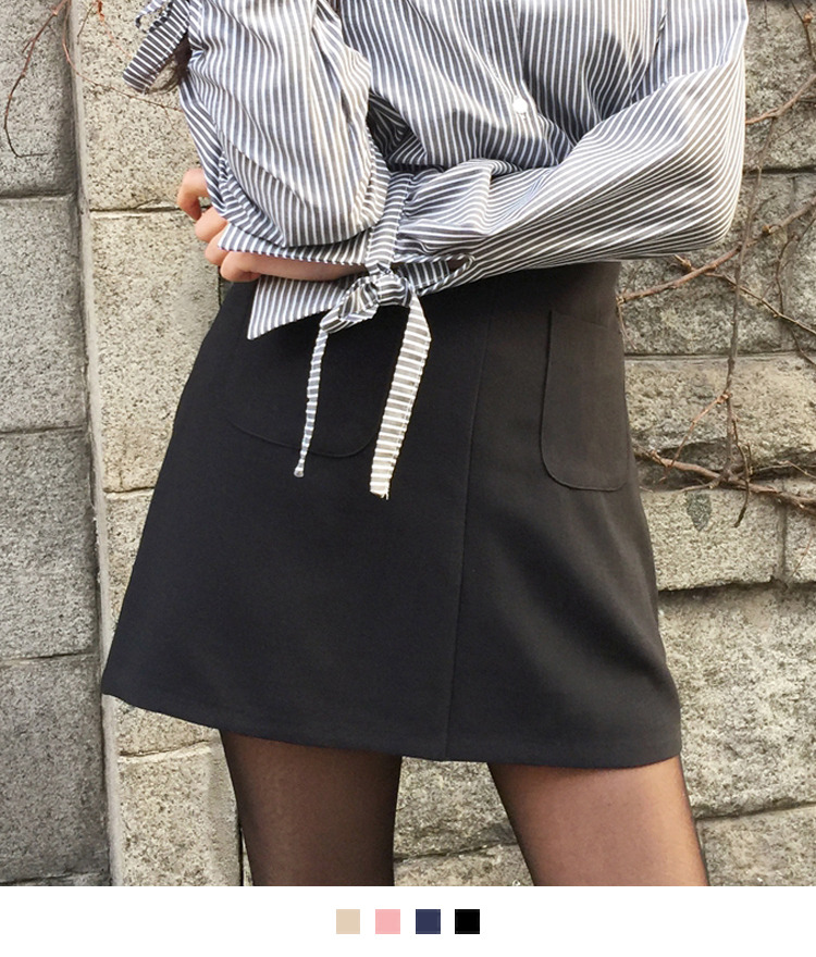 Double Patch Pocket Mini Skirt
