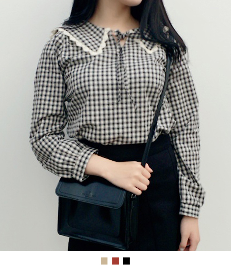 Lace-Trimmed Collar Check Blouse