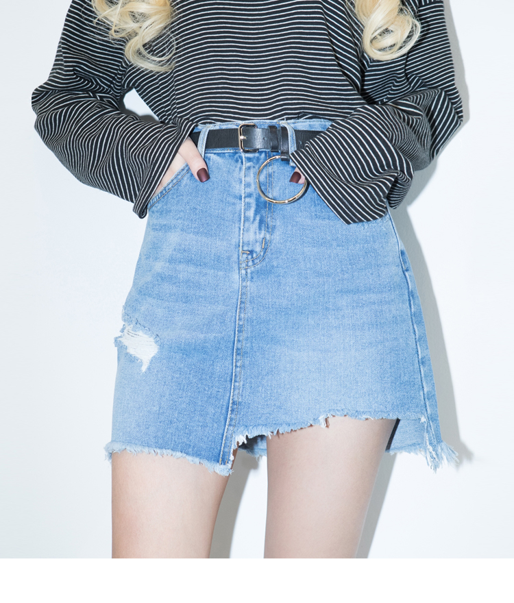Damaged A-Line Mini Denim Skirt