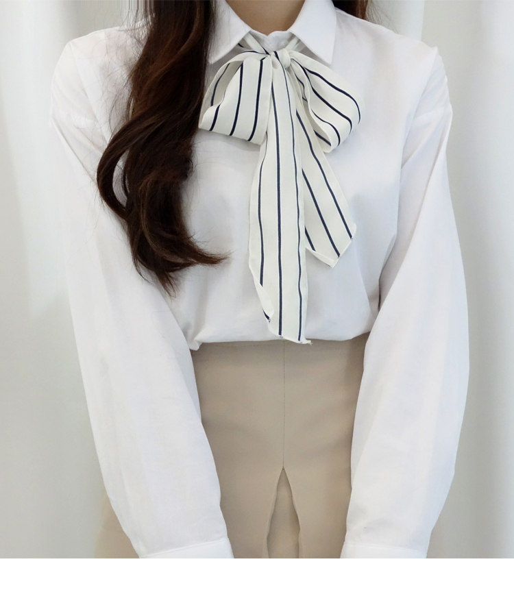 White Contrast Stripe Self-Tie Strap