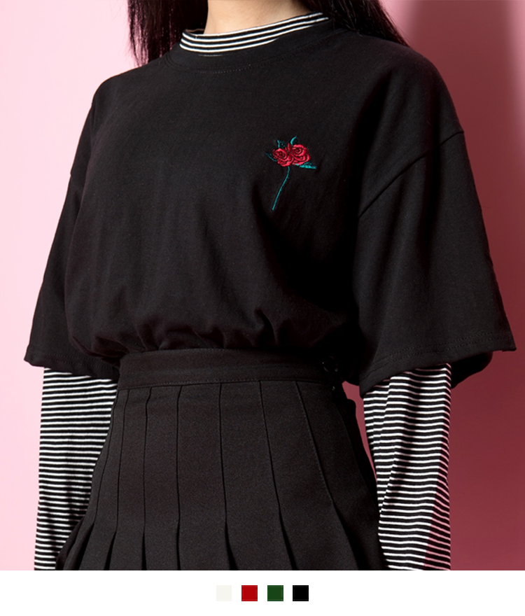 Rose Embroidered Slit Sleeve T-Shirt