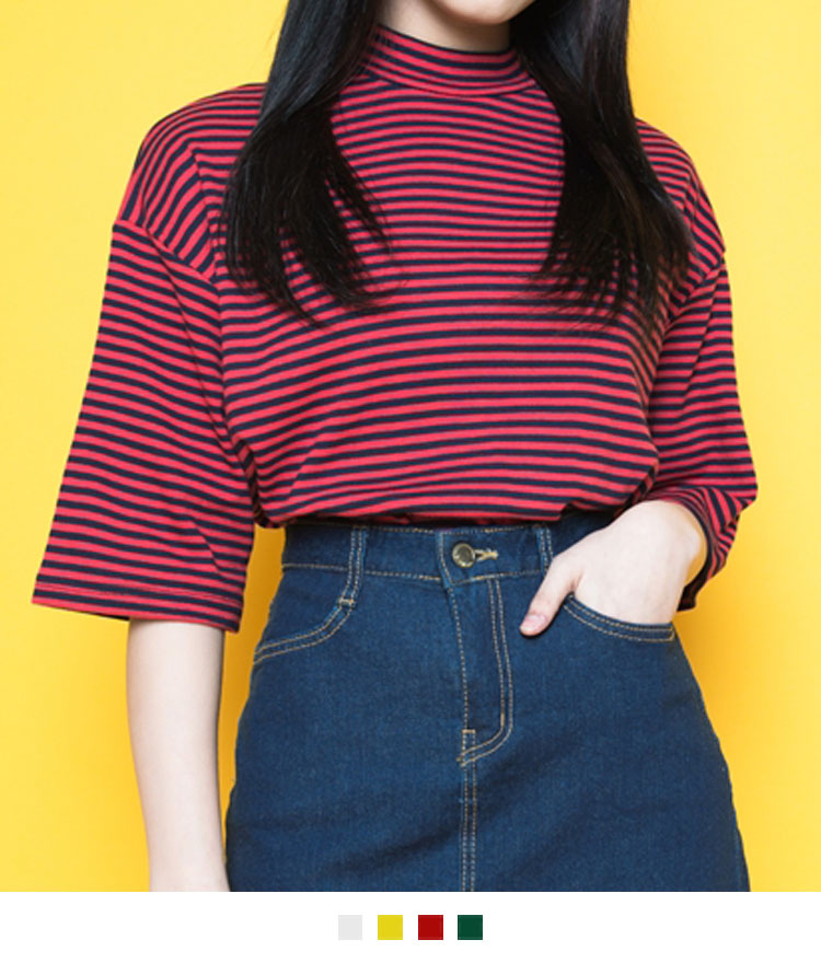 Striped Mock Neck Half Sleeve T-Shirt