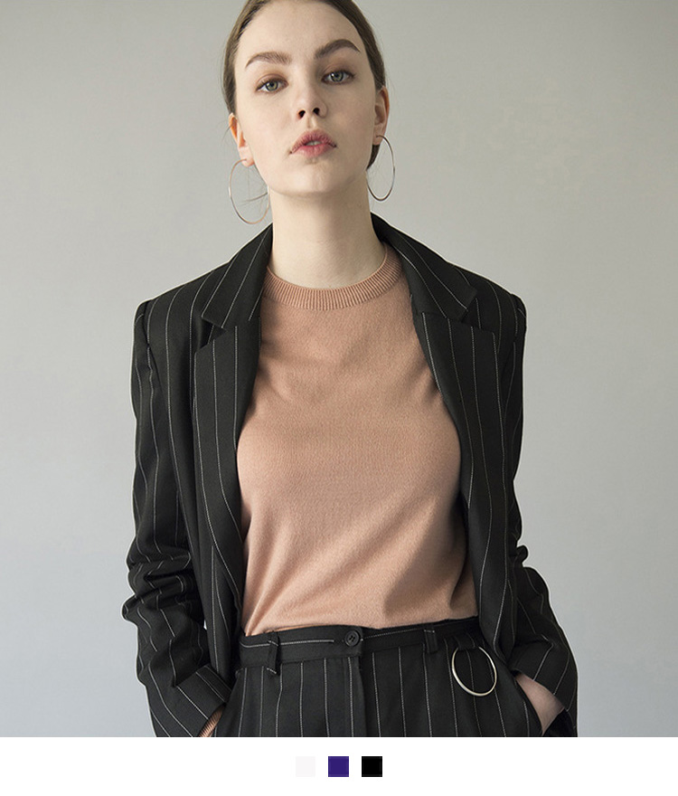 Pinstriped Single-Breasted Jacket