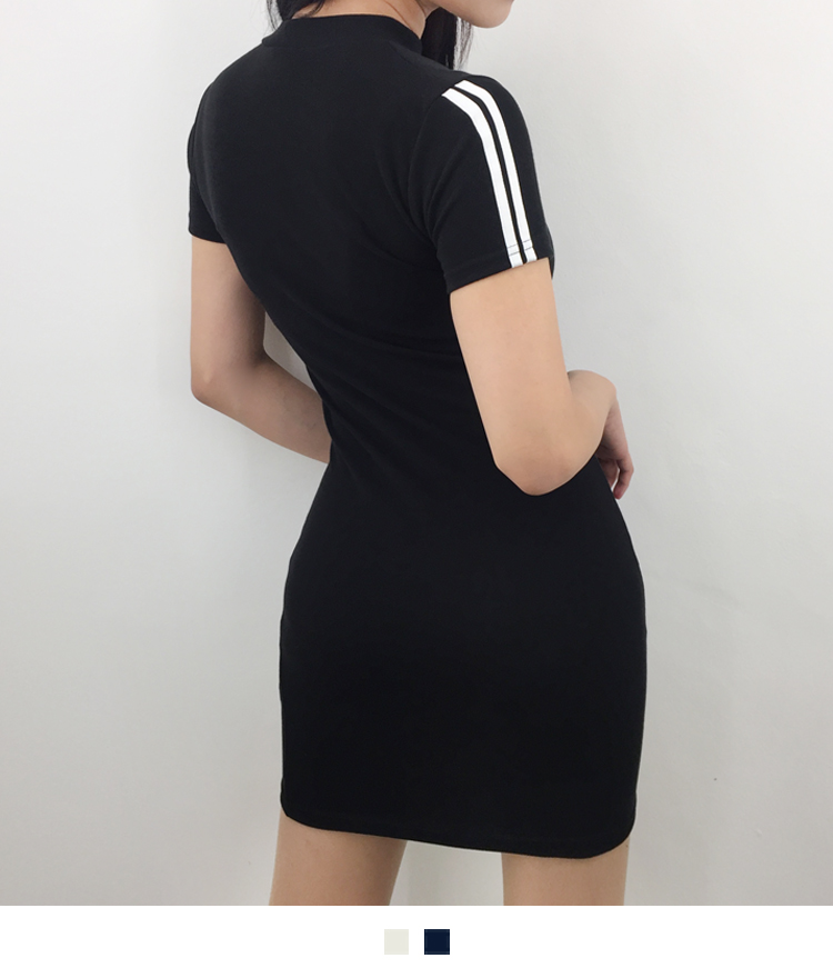 Contrast Sleeve Panel Slim Fit Mini Dress