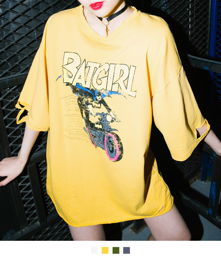 Damaged Cartoon Print T-Shirt