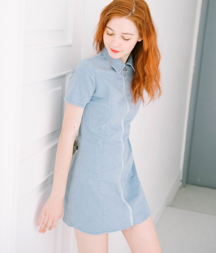 HEART CLUBHeart Zipper Denim Dress