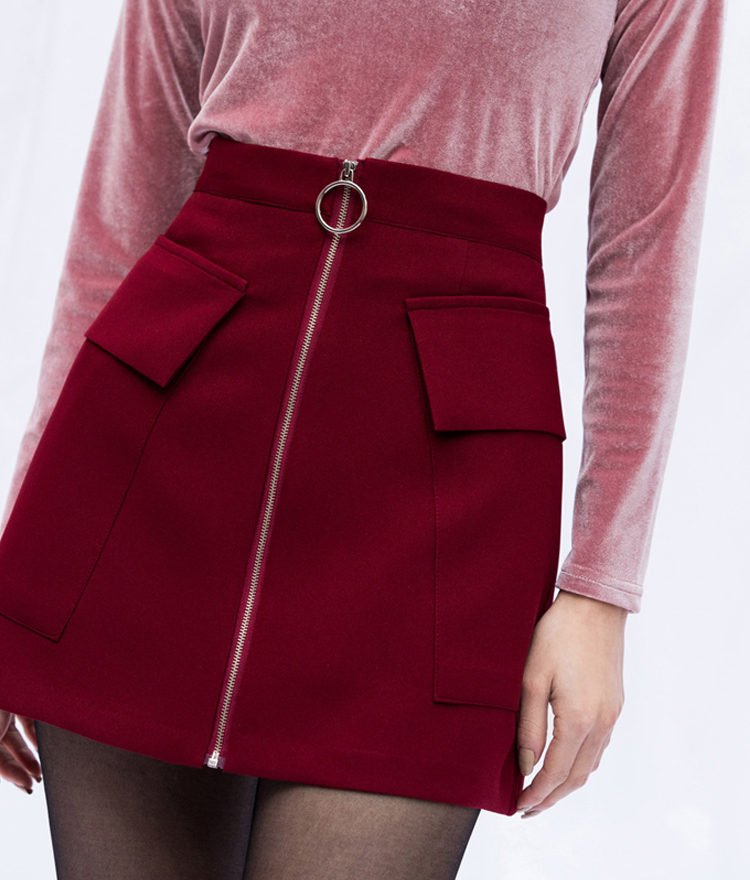 PAST PASSIONZip-Front Flap Pocket Mini Skirt