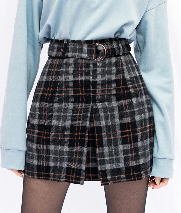 PAST PASSIONPleat Front Check Mini Skirt With Belt