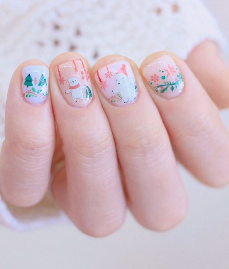 Holiday Animal Themed Nail Art Water Decal