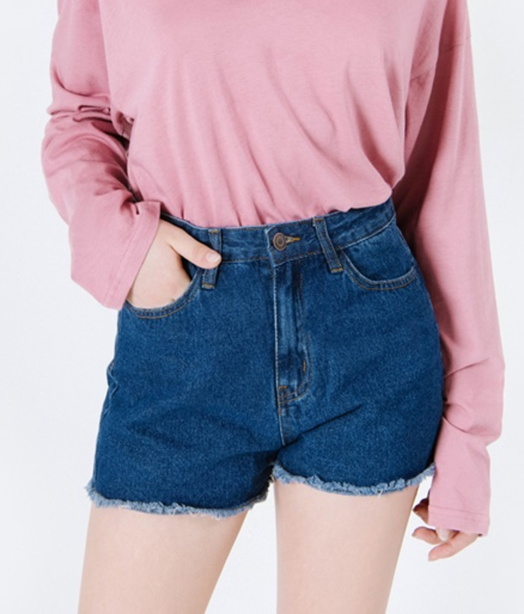 Basic Fringe Hem High Waist Denim Shorts